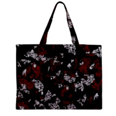 Red, White And Black Abstract Art Medium Zipper Tote Bag