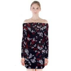 Red, white and black abstract art Long Sleeve Off Shoulder Dress