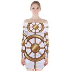 Boat Wheel Transparent Clip Art Long Sleeve Off Shoulder Dress