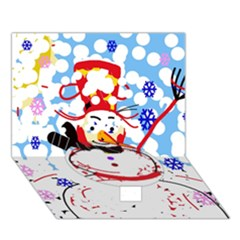 Snowman Circle Bottom 3D Greeting Card (7x5)