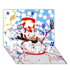 Snowman YOU ARE INVITED 3D Greeting Card (7x5)