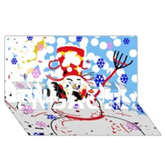 Snowman ENGAGED 3D Greeting Card (8x4)