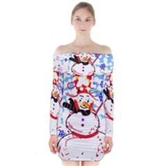 Snowman Long Sleeve Off Shoulder Dress