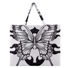 Butterfly Wings Tattoo Zipper Large Tote Bag
