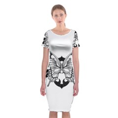 Butterfly Wings Tattoo Classic Short Sleeve Midi Dress