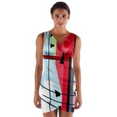 Window Wrap Front Bodycon Dress