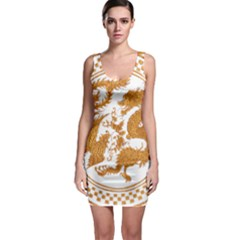 Chinese Dragon Gold Sleeveless Bodycon Dress