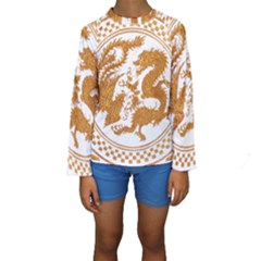 Chinese Dragon Gold Kids  Long Sleeve Swimwear
