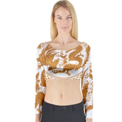 Chinese Dragon Gold Long Sleeve Crop Top