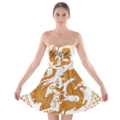 Chinese Dragon Gold Strapless Bra Top Dress
