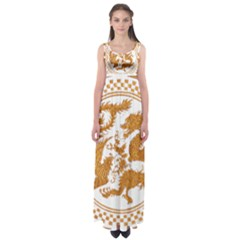 Chinese Dragon Gold Empire Waist Maxi Dress