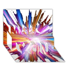 Colorful Abstract Light Rays Miss You 3D Greeting Card (7x5)