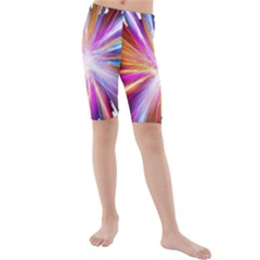 Colorful Abstract Light Rays Kids  Mid Length Swim Shorts