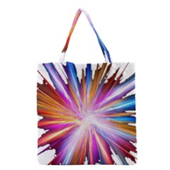 Colorful Abstract Light Rays Grocery Tote Bag