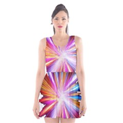 Colorful Abstract Light Rays Scoop Neck Skater Dress