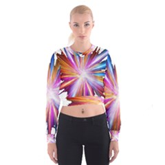 Colorful Abstract Light Rays Women s Cropped Sweatshirt