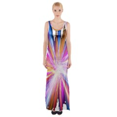 Colorful Abstract Light Rays Maxi Thigh Split Dress
