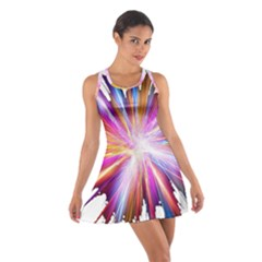 Colorful Abstract Light Rays Cotton Racerback Dress