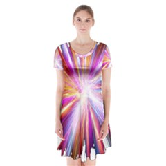 Colorful Abstract Light Rays Short Sleeve V-neck Flare Dress