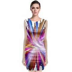 Colorful Abstract Light Rays Classic Sleeveless Midi Dress