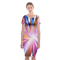 Colorful Abstract Light Rays Classic Short Sleeve Midi Dress