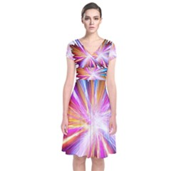 Colorful Abstract Light Rays Short Sleeve Front Wrap Dress