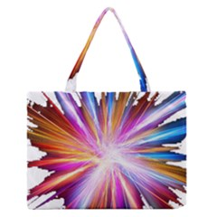 Colorful Abstract Light Rays Medium Zipper Tote Bag