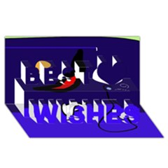 Night duck Best Wish 3D Greeting Card (8x4)