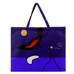 Night duck Zipper Large Tote Bag