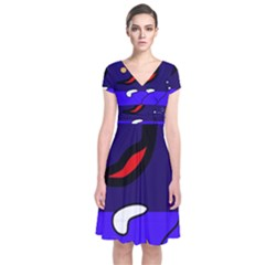 Night duck Short Sleeve Front Wrap Dress
