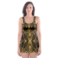 Beautiful Gold Brown Traditional Pattern Skater Dress Swimsuit