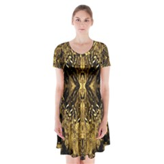 Beautiful Gold Brown Traditional Pattern Short Sleeve V-neck Flare Dress