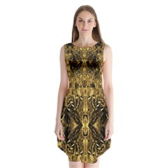 Beautiful Gold Brown Traditional Pattern Sleeveless Chiffon Dress