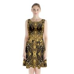 Beautiful Gold Brown Traditional Pattern Sleeveless Chiffon Waist Tie Dress