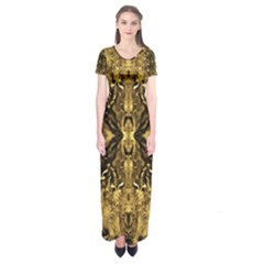 Beautiful Gold Brown Traditional Pattern Short Sleeve Maxi Dress