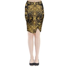 Beautiful Gold Brown Traditional Pattern Midi Wrap Pencil Skirt