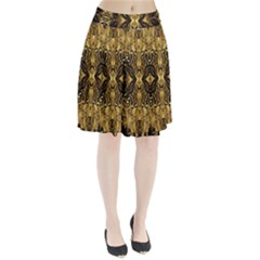 Beautiful Gold Brown Traditional Pattern Pleated Skirt