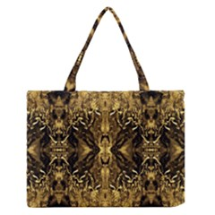 Beautiful Gold Brown Traditional Pattern Medium Zipper Tote Bag