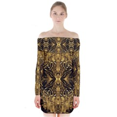 Beautiful Gold Brown Traditional Pattern Long Sleeve Off Shoulder Dress