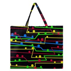 Stay in line Zipper Large Tote Bag
