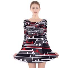 Stay in line Long Sleeve Velvet Skater Dress