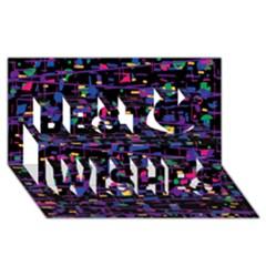 Purple galaxy Best Wish 3D Greeting Card (8x4)