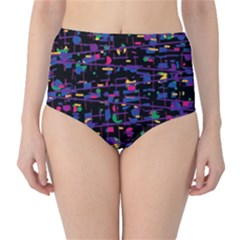 Purple galaxy High-Waist Bikini Bottoms