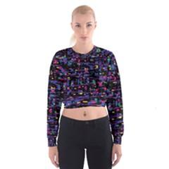 Purple galaxy Women s Cropped Sweatshirt