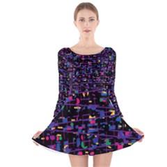 Purple galaxy Long Sleeve Velvet Skater Dress
