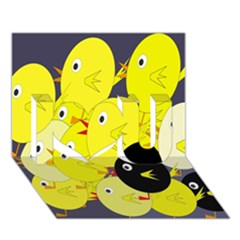 Yellow flock I Love You 3D Greeting Card (7x5)