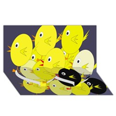 Yellow flock Twin Heart Bottom 3D Greeting Card (8x4)