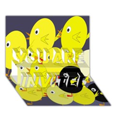 Yellow flock YOU ARE INVITED 3D Greeting Card (7x5)