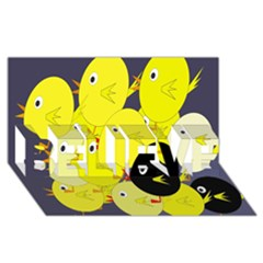 Yellow flock BELIEVE 3D Greeting Card (8x4)