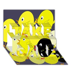 Yellow flock TAKE CARE 3D Greeting Card (7x5)